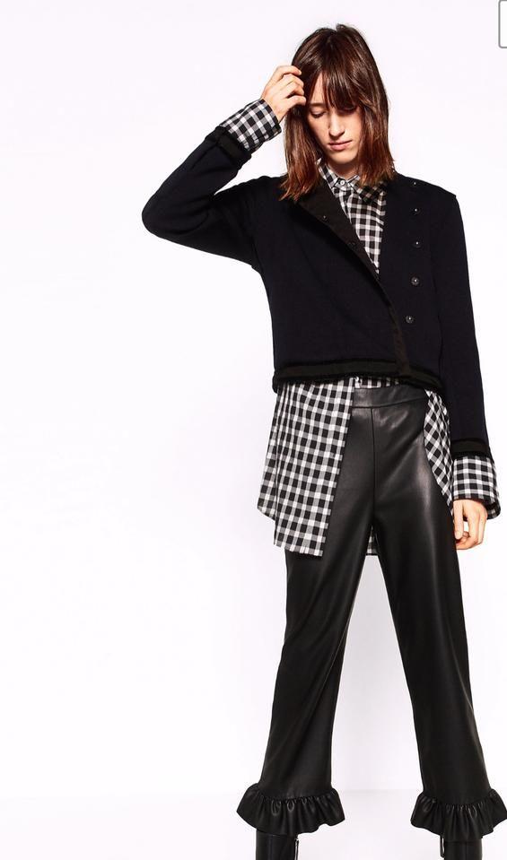 85866026 Zara Black Leather Feel Trousers Pants Size 8 (M, 29, 30) | Tradesy ...