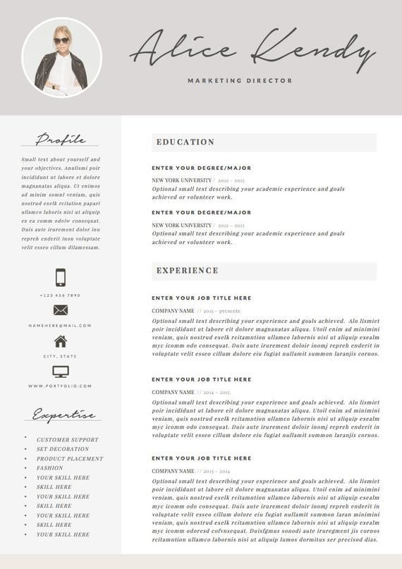 Resume Template 4 Page Word Diy Printable Cv With Cover Letter