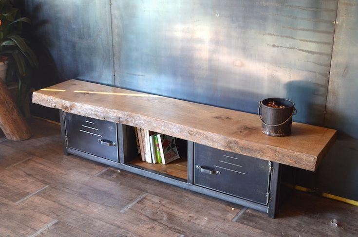 Meuble tv banc bois massif et acier style industriel