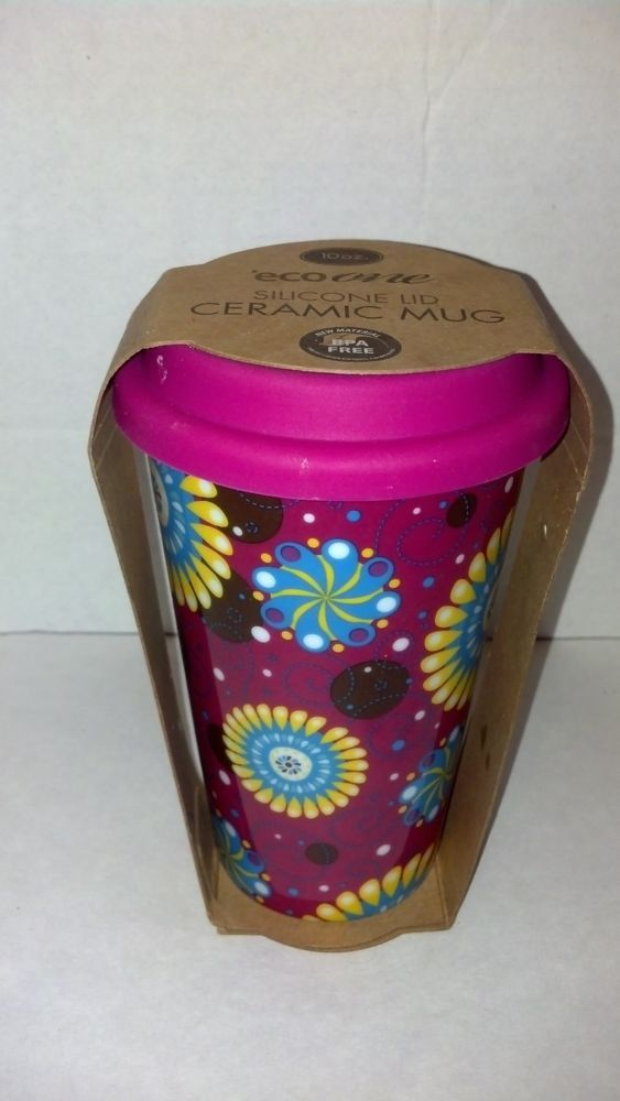 Ceramic Travel Coffe Mug Cup Silicone Lid Floral Fun 10 Oz