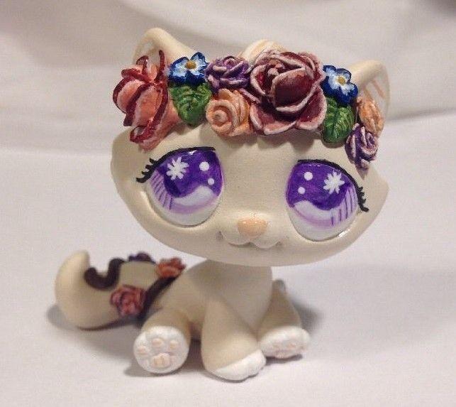 Littlest pet shop Cat  * Sweet Flower Kitty * Custom Hand Painted LPS OOAK #Hasbro