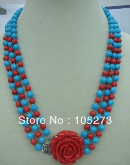 nieuwe gratis verzending sieraden natuurlijke turquoise rood blauw turquoise ketting 3 rijen mooie koraal bloem mode dame sieraden slotje