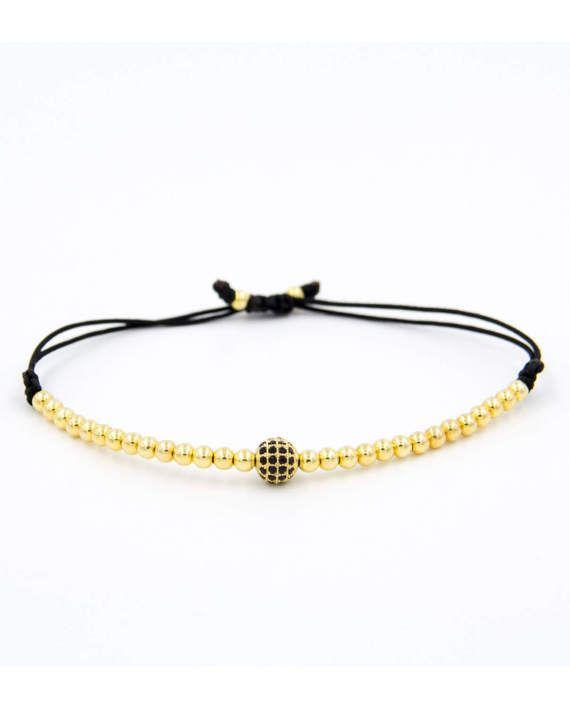 Armband Gold Zirkon mit goldenen Perlen Classymo