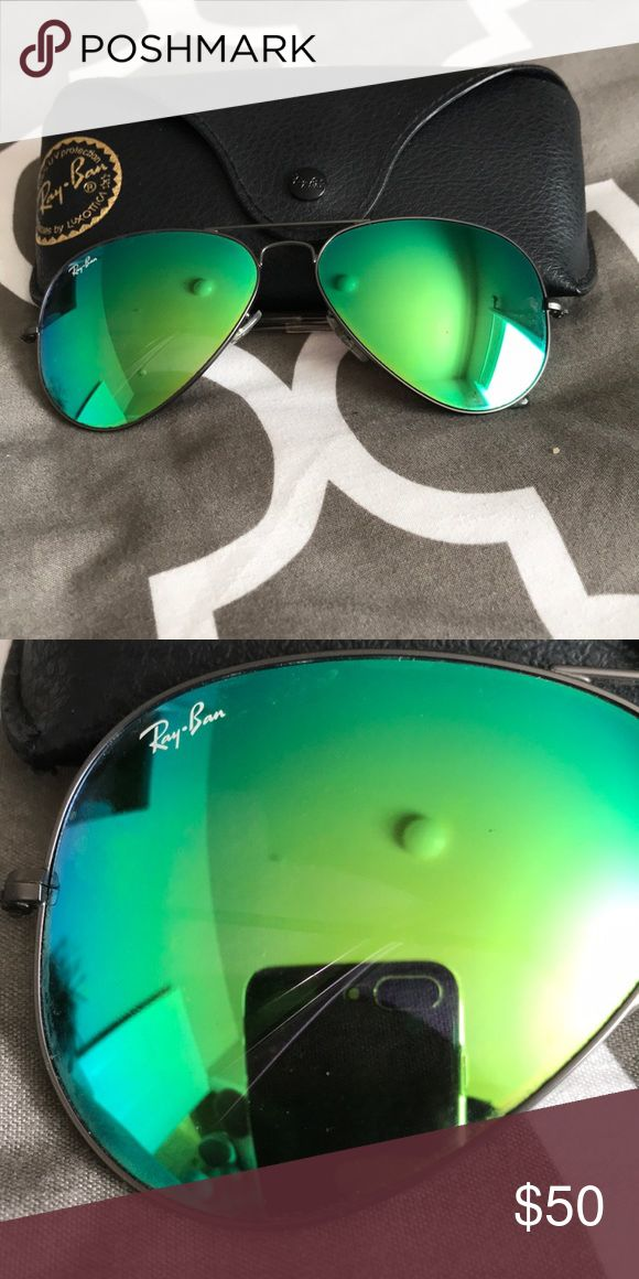 RAY-BAN Mirrored Aviator Sunglasses Customized Ray-Ban Green Flash mirrored Aviator Sunglasses  Gently worn  No scratches Ray-Ban Accessories Sunglasses
