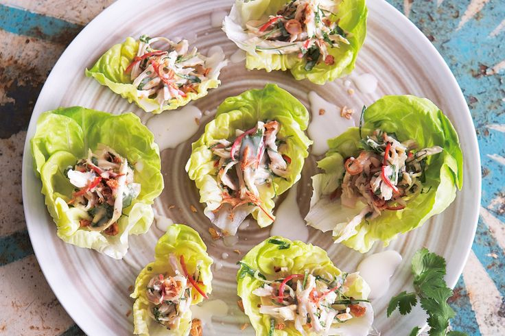 These elegant lettuce cups with aromatic chicken filling are a beautiful starter dish for an Asian inspired meal.