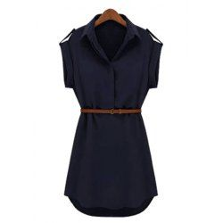 Wholesale Solid Color Turn Down Collar Short Sleeve Loose Packet Buttock Dress For Women (CADETBLUE,M), Dresses 2014 - rosewholesale.com