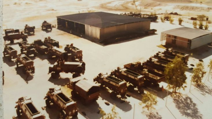 Aerial view of the Light Workshop at 101 Bn main base Ondangwa littered with vehicles for repair. Yes, we broke them, but they saved our lives.