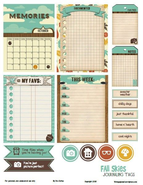 Free Fall Skies Journaling Cards and Labels for Project Life from Vintage Glam Collectibles