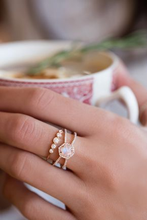 Here is a *totally* different-looking bridal set: an engagement ring in moonstone! 14kt gold and diamond Double Band Moonstone Hex ring from Luna Skye by Samantha Conn.