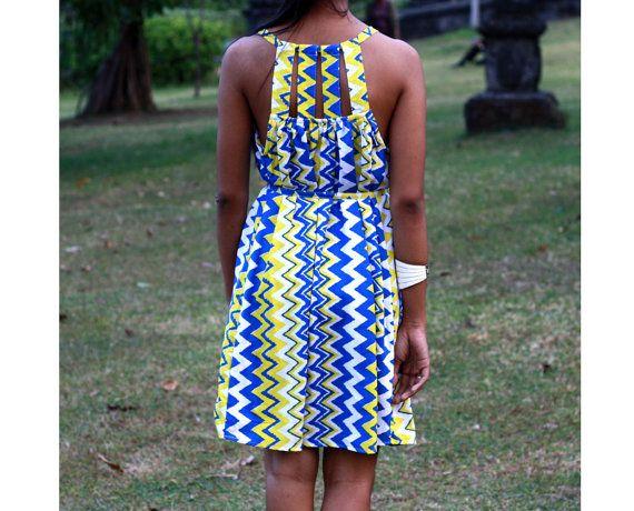 Yellow and Blue Chevron Dress Short dress women's by LoNaDesign, $42.00
