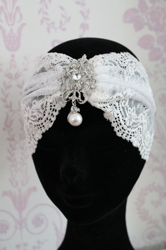 Great Gatsby Headband Vintage Inspired 1920s lace headdress Great Gatsby headpiece  bridal headdress.