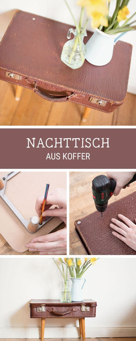 Nachttisch aus altem Koffer bauen, Upcycling-Idee / turn your old suitcase into a nightstand via DaWanda.com