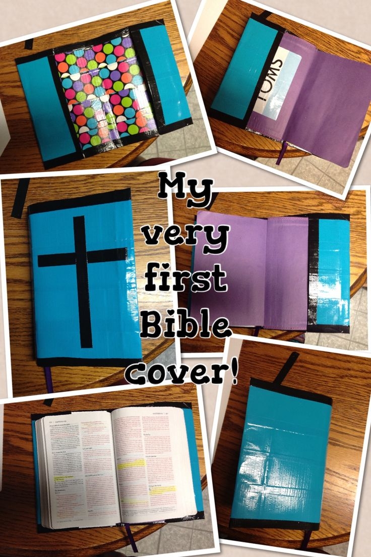 Duct tape mini Bible cover! Turquoise and black with poka dot inside