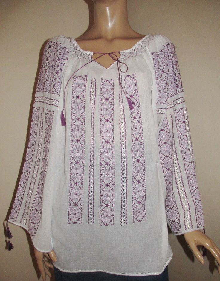 Hand embroidered Romanian blouse - lavender flowers size M /L long