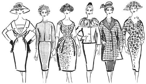Illustrated models showcasing Smith & Caughey's Women's Fashion