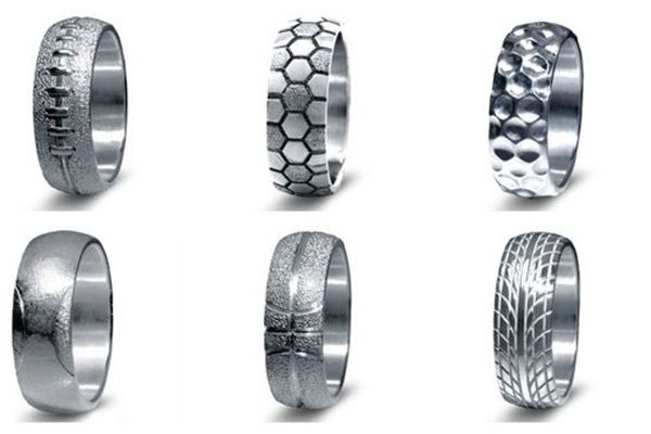Wedding rings with baseball, football, basketball and other sports designs might make your guy excited about shopping.