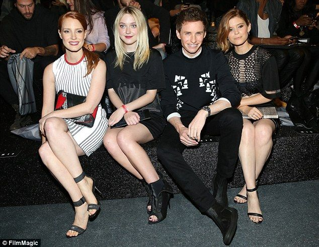 A-list front row: Jessica Chastain, Dakota Fanning, Eddie Redmayne and Kate Mara joined forces