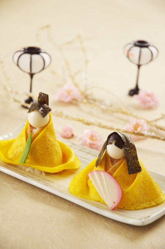 Egg Crepe Wrapped Sushi for Girl's Day : Japanese Hinamatsuri Doll Festival     <3 ひな祭りのアレンジ寿司 #sushi