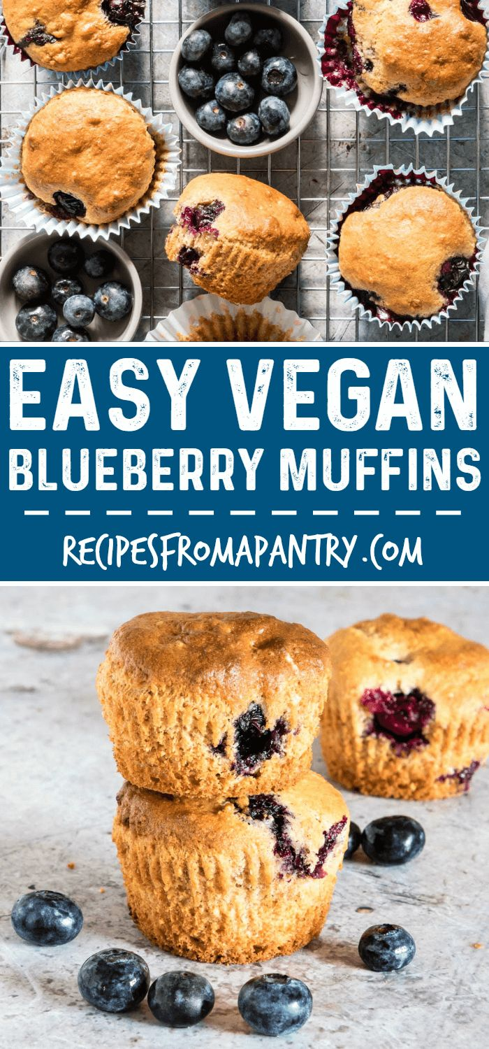 Easy Vegan Blueberry Muffins are sweet, soft, and filled with blueberry goodness. A quick and easy blueberry muffin recipe and vegan muffin recipe. #vegan #veganrecipes #veganblueberrymuffins #easyblueberrymuffins  via @recipespantry