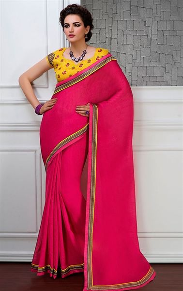 Picture of Hot Pink Color Saree With Beautiful Plain Pallu
