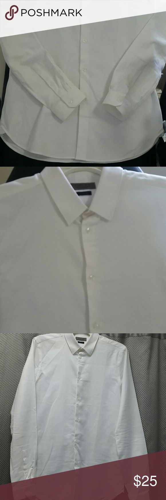 ZARA MAN Slim Fit White Shirt size Small New Up for sale a Zara Man long sleeve shirt.  The label reads size S slim fit, 100% cotton.  This shirt is New without tag. Sorry my picture does no justice to this very nice White  Shirt. Thank you for viewing Zara Shirts