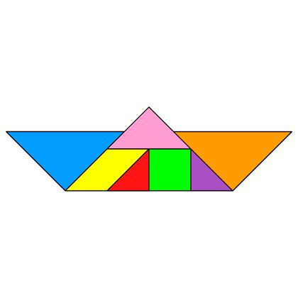 Tangram Boat - Tangram solution #38 - Providing teachers and pupils with tangram puzzle activities