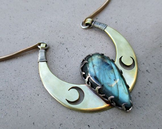 RESERVED Triple Luna Goddess Necklace Crescent by SilviasCreations, $150.00