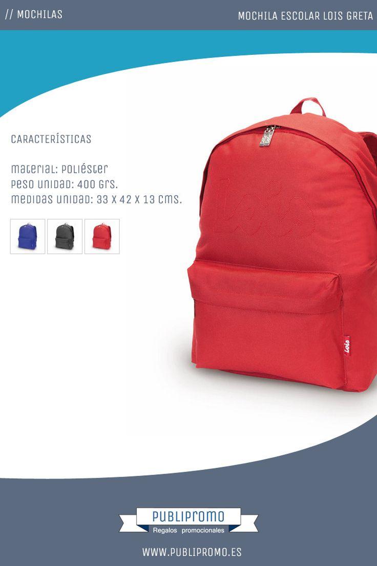 Mochilas escolares infantiles modelo Greta de la marca Lois. Estas mochilas de calidad pueden comprarse tanto personalizadas como lisas. Descubre estas mochilas para niños y otras muchas más a la venta online en: Publipromo.es
