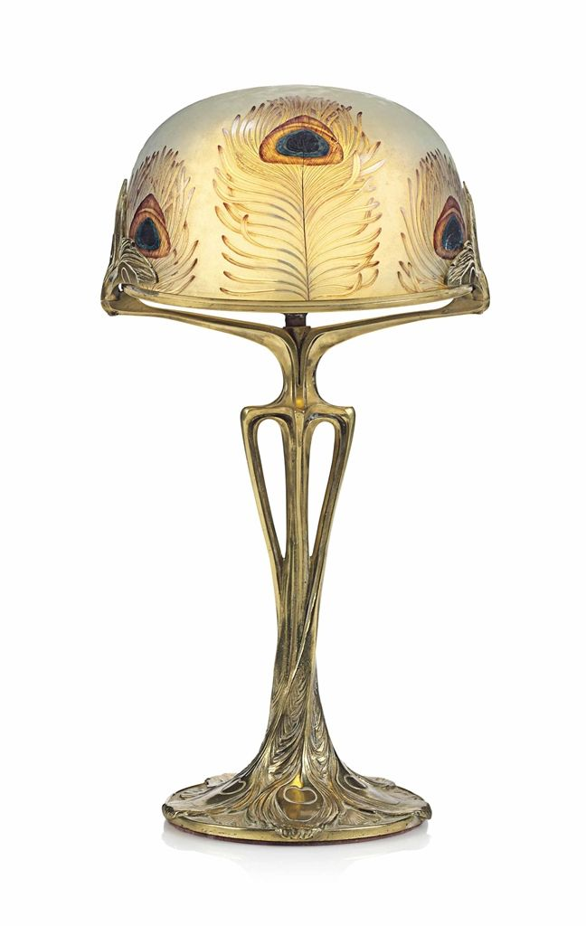 AN ART NOUVEAU GLASS AND BRONZE 'PAON' TABLE LAMP CIRCA 1900