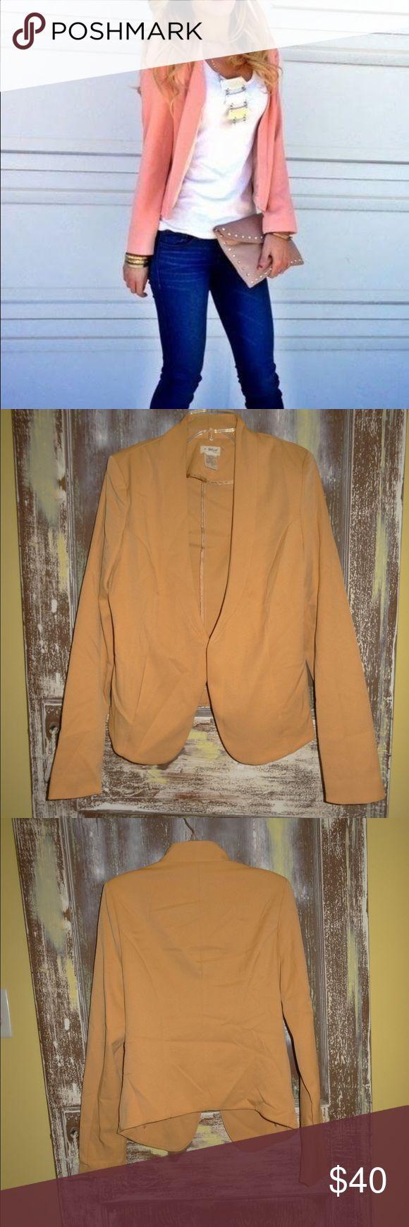 NWOT BLVD Peach Coral Jacket Blazer Low Neckline NWOT BLVD Peach Coral Jacket Blazer Cardigan Deep Low Neckline Size M BLVD  Jackets & Coats Blazers