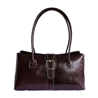 Buckle Lock Purple Leather Shoulder Bag - £59.99