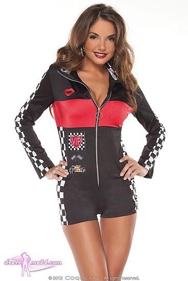 Besuche uns gern auch auf dressme24.com ;-) Racing Girl - Sexy Stretch Rennanzug mit Reißverschluß vorn: Raffiniert für jedes Boxenluder und Grid Girl!!! Einheitsgröße passend von Gr.34-38. Das Original von Coquette Canada. #Kostueme, #Racinggirl, #Boxenluder