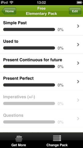 British council Grammar. Det er kun de 4 kategorier på billedet,der er gratis. De øver også fint grammatikken, men den gratis app er hurtigt udtømt. Der er tests med også.