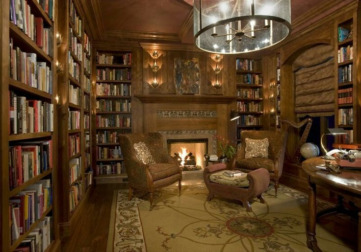 Cozy home library with fireplace