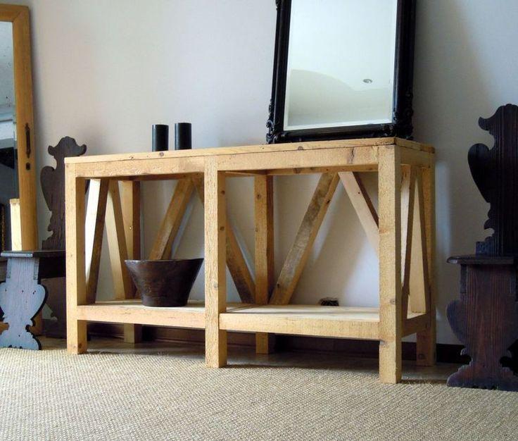 tavolo consolle in legno riciclato spazzolato con finitura a cera naturale