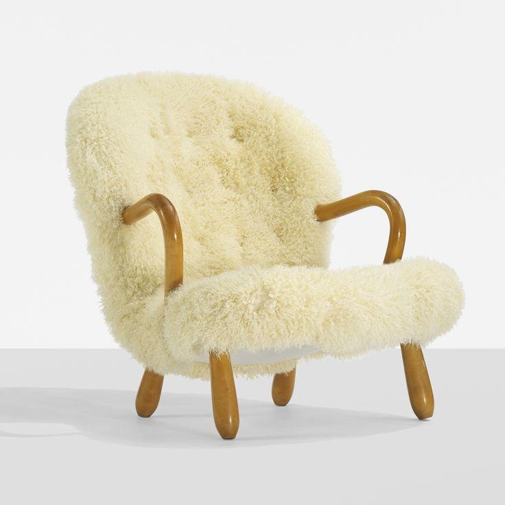 Phillip Arctander armchair  Nordisk Staal & Møbel Central Denmark, 1944 sheepskin, beech 29 w x 36 d x 32 h inches