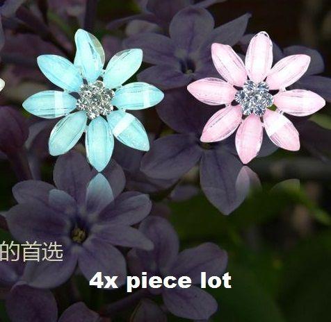 4 piece lot 8 crystal petal  flower  alloy diy bling phone deco etc | chriszcoolstuff - Craft Supplies on ArtFire
