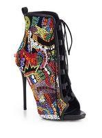 Заглянуть ног зашнуровать горный хрусталь ботильоны, тонкие высокие каблуки красочные кристалл крытая bootie сандалии