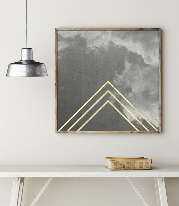 Hipster Poster, Wolken und geometrische Formen, Gold / artprint with golden triangles, minimal home decor made by goodgirrrl via DaWanda.com