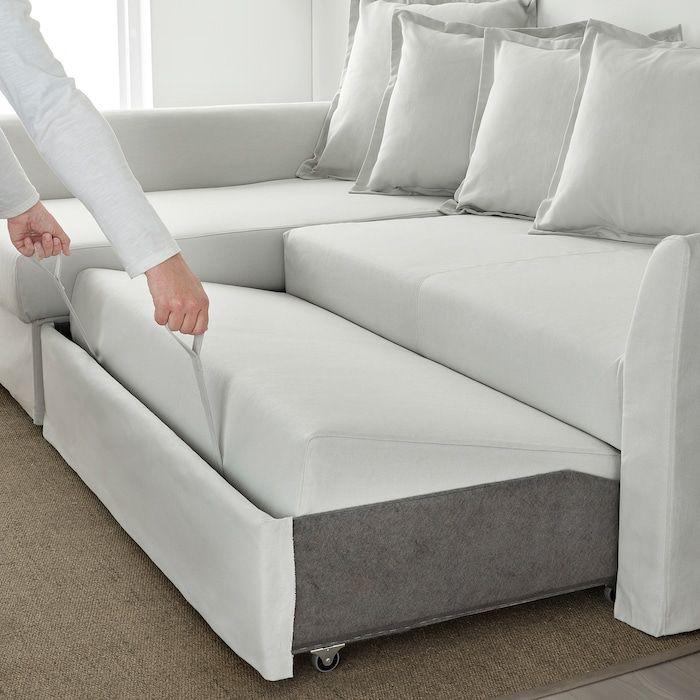 HOLMSUND Sleeper sectional, 3 seat, Orrsta light white gray   IKEA in 2021   Sectional sleeper ...