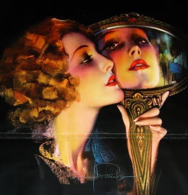 Rolf Armstrong print  OMG I love mirror art I so ant to have something using that concept for a tat