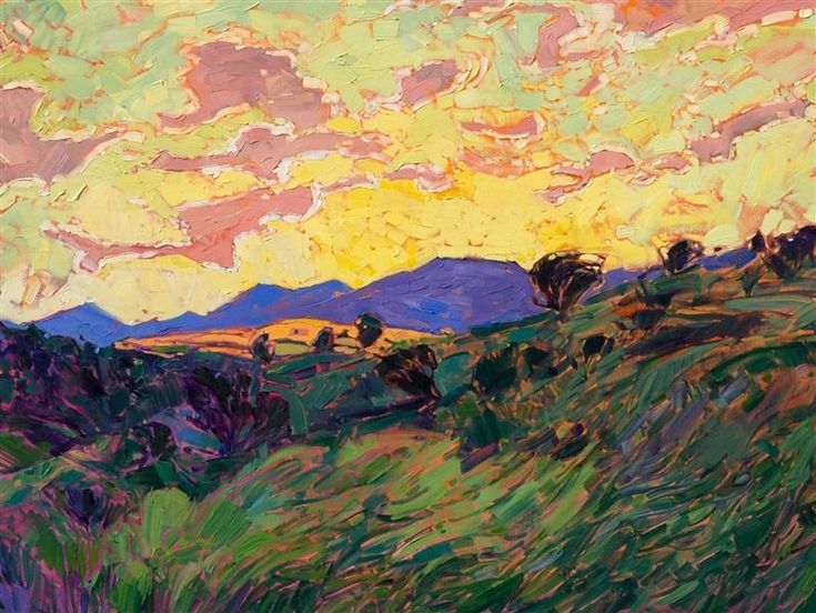 Paso Clouds - Contemporary Impressionism Art Gallery in San Diego - Modern Landscape Oil Paintings for Sale by Erin Hanson #OilPaintingLove