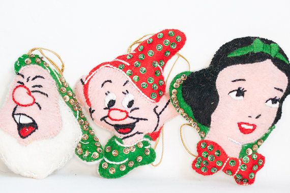 Disney Felt Ornament Set Snow White Dumbo Jiminy by AntiquesAsh, $60.00