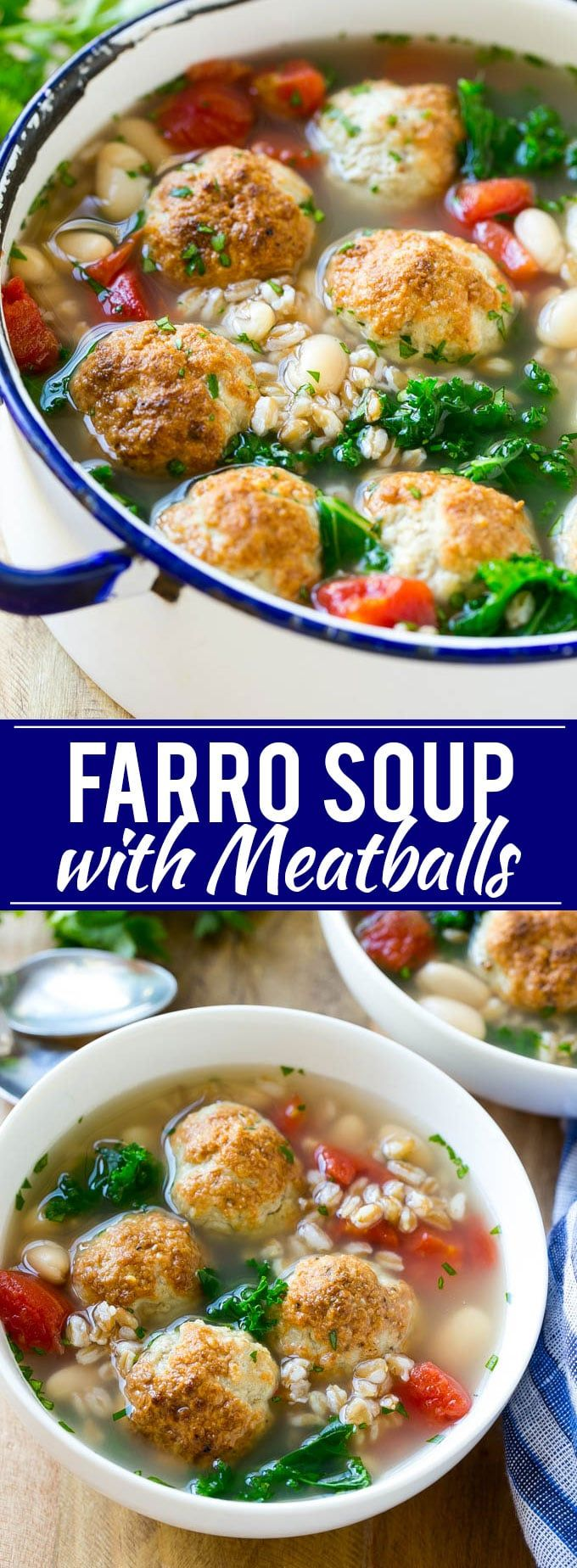 Farro Soup with Meatballs Recipe, made with @villageharvest Farro AD