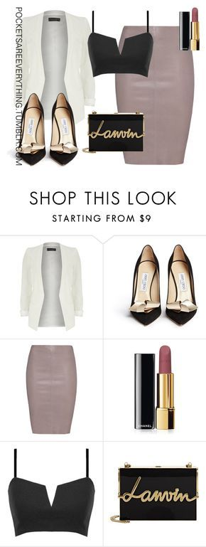 """A HOE NEVER GETS COLD"" Outfit and on Polyvore featuring Dorothy Perkins, Jimmy Choo, Jitrois, Chanel, Lanvin, women's clothing, women's fashion, women, female and woman"