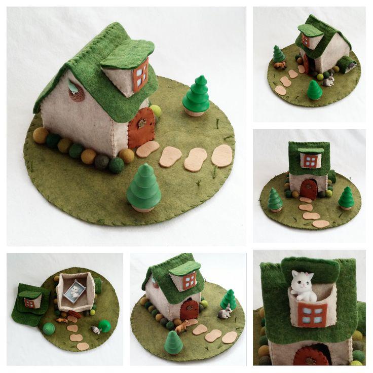 Fairytale Cottage Playscape Play Mat wool felt by MyBigWorld2015