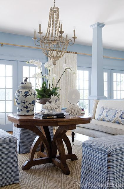 How do I love this garden room?  The blue and white scheme, with a touch of green and greenery, the ginger jars, the bambo motif table and chairs, the ikat rug, the porcelain elephant plant stand, the mantel vignette-- I love it all!