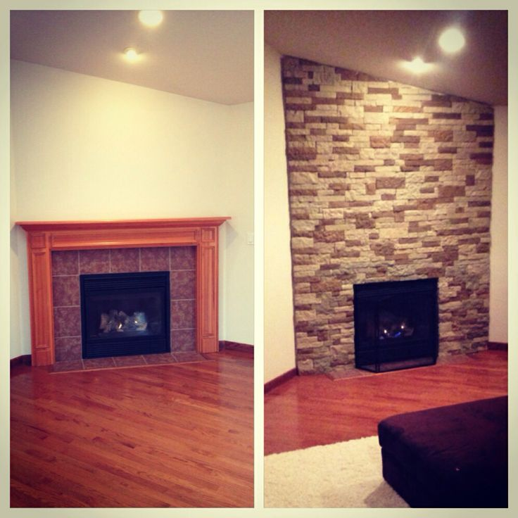 diy faux stone fireplace makeover with airstone