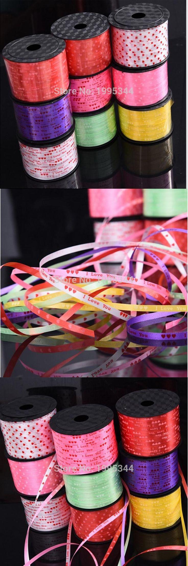 [Visit to Buy] 100 yards printing wedding celebration Ribbon floating air balloon hydrogen helium balloon rope tying Gift box free shipping #Advertisement