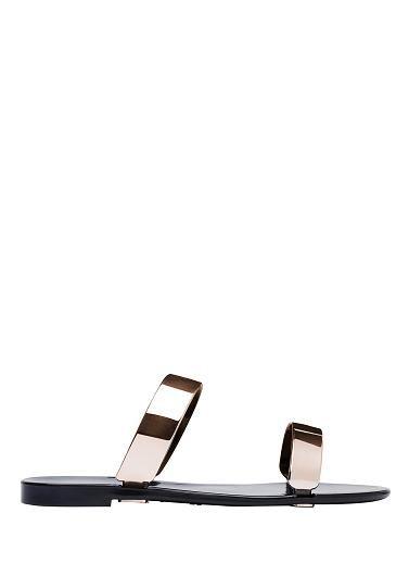 Slip on double band jelly sandal. PVC.
